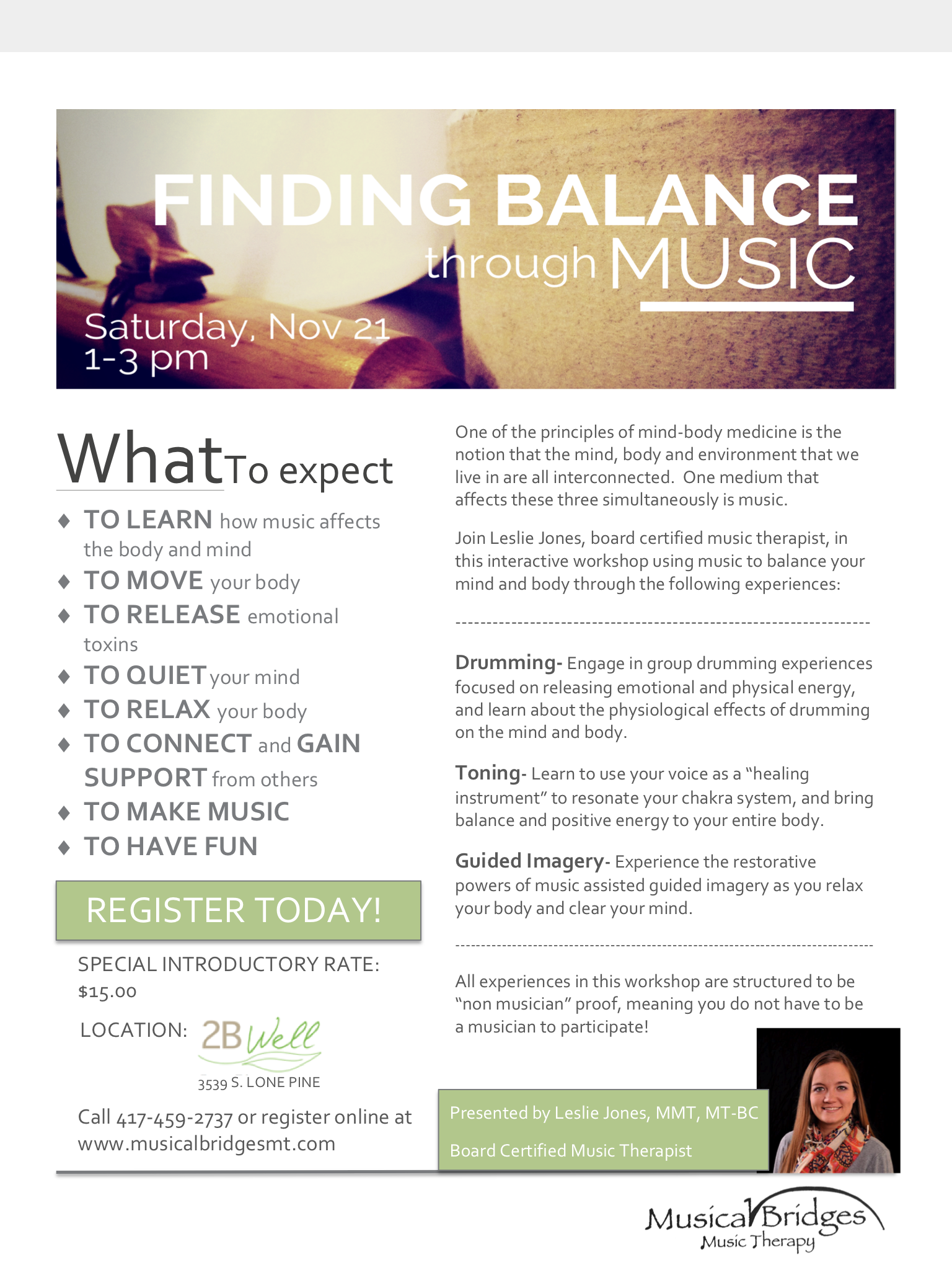 Introductory Music & Wellness Workshop at 2B Well |